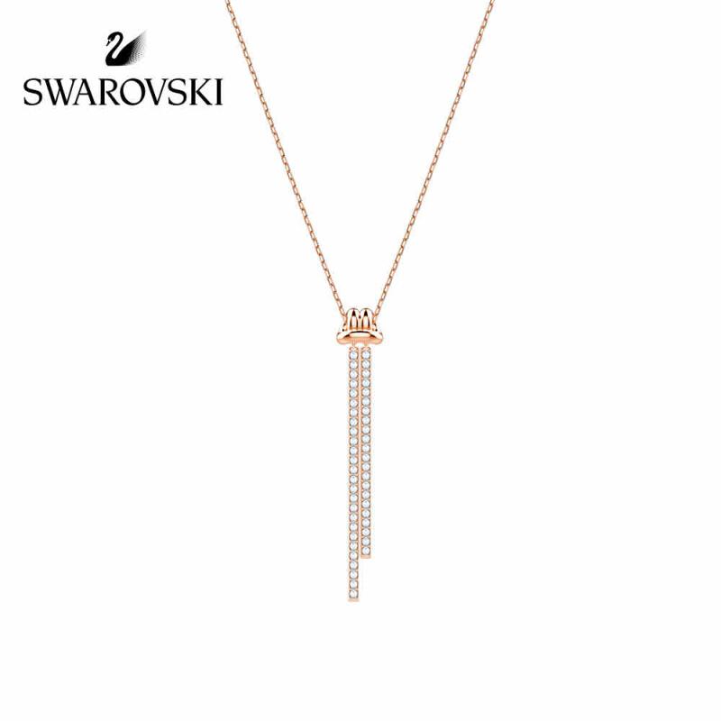施华洛世奇 LIFELONG Y形项链 扭结设计锁骨链 女友礼物 镀玫瑰金色 5390817