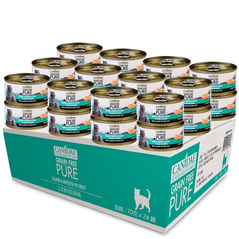 美国进口卡比 Canidae 宠物猫罐头猫湿粮猫粮天然无谷三文鱼与白身鱼猫罐头70g*24整箱装