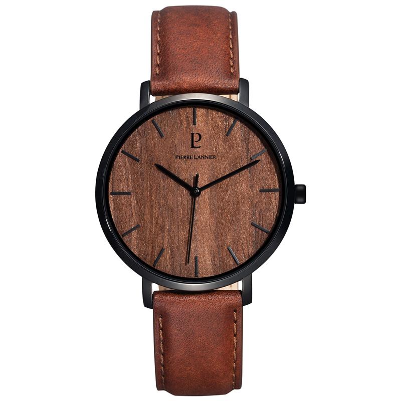 连尼亚(PIERRE LANNIER)法国PL男士石英手表 Nature系列40mm棕色木纹木质表盘黑边皮带腕表241D384