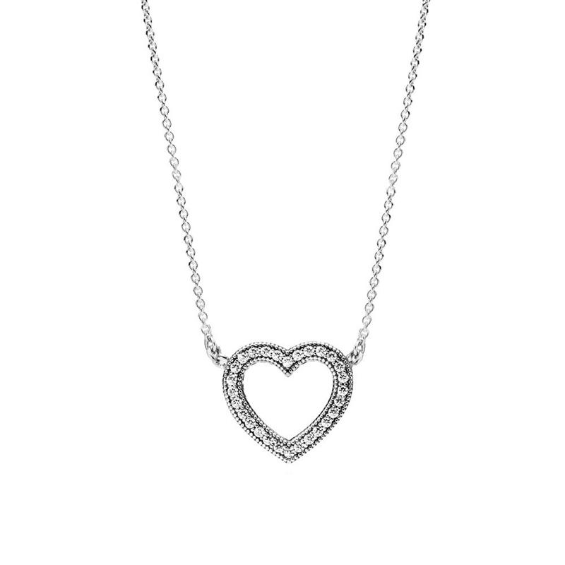 PANDORA/潘多拉 925银 爱心双面吊饰可调节项链 590534CZ-45