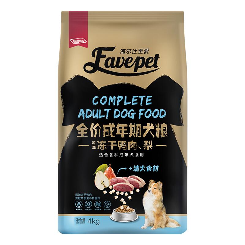 海尔仕(Healsher)至爱狗粮 冻干系列(鸭肉、梨冻干)全犬种成犬粮-10月龄以上4kg