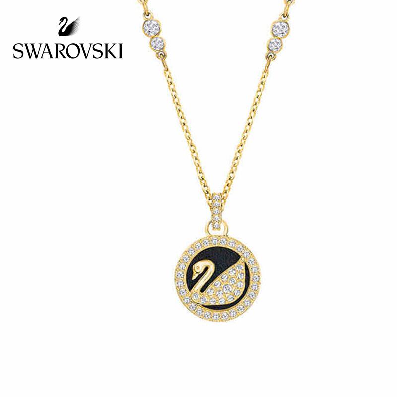 施华洛世奇天鹅 LEATHER SWAN 项链 时尚皮革 礼物 镀金色 5374919