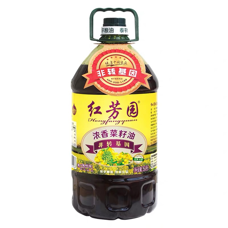 紅芳園濃香菜籽油 非轉基因食用油 凈含量:5L