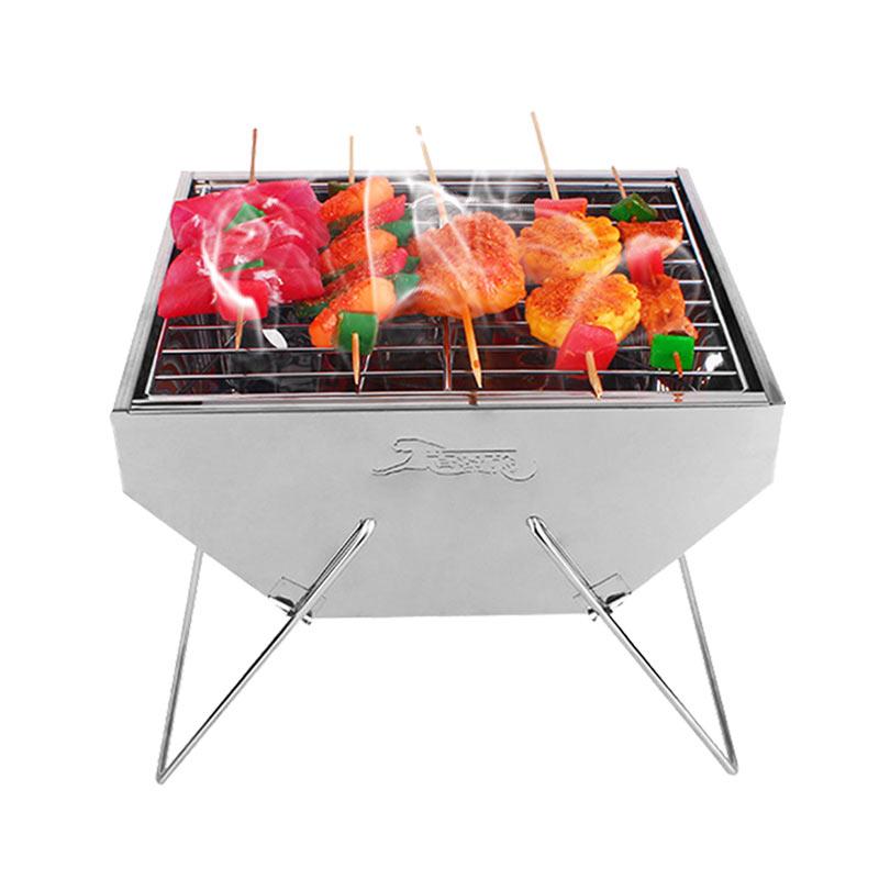 领路者 LZ-0711烧烤炉套装 不锈钢烧烤架子 户外便携木炭烧烤箱