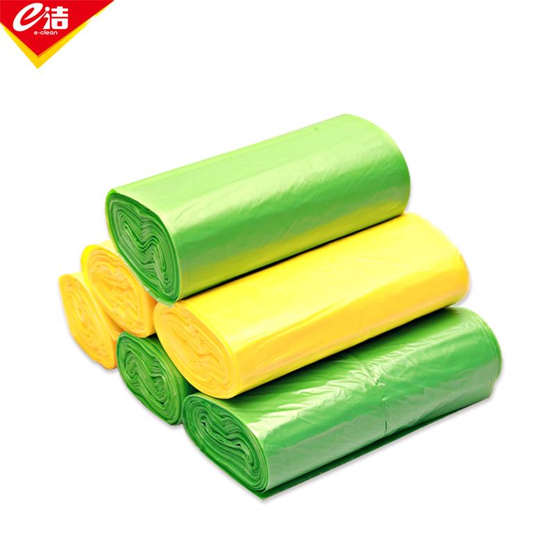 e洁 可扣防滑垃圾袋 黄绿粉灰随机颜色 30个 1卷
