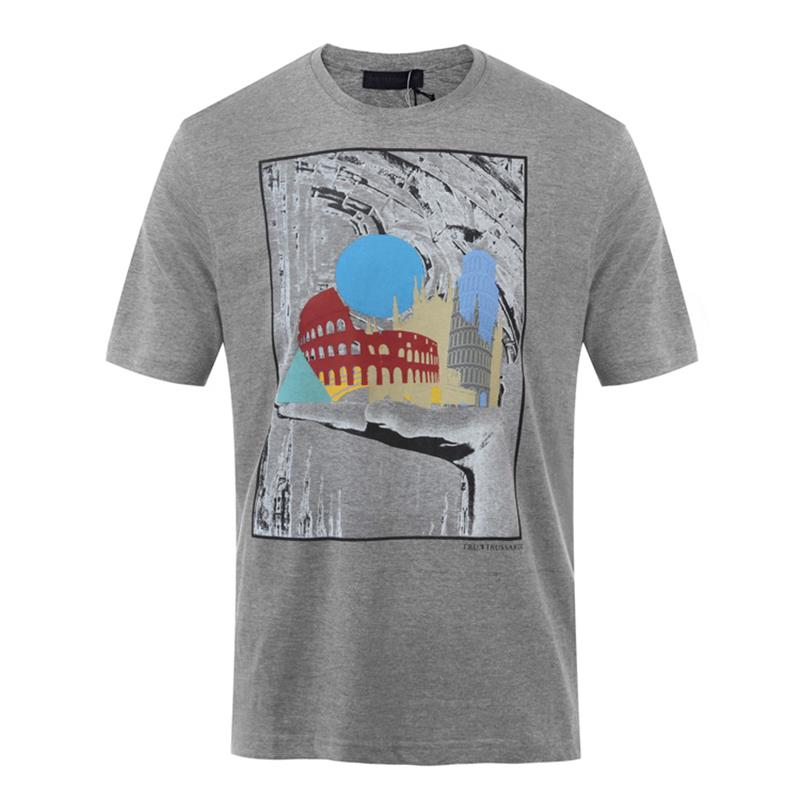 Trussardi/楚萨迪 圆领男士短袖T恤 32T00168 灰色/红色/黑色/深蓝色/白色