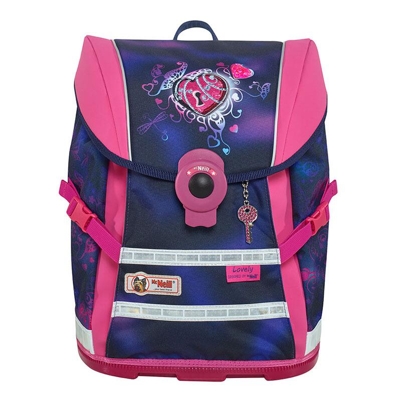 McNeill德國進口兒童小學生書包 減負護脊輕便雙肩背包四件套 紫紅色愛心鎖 Move-9616162