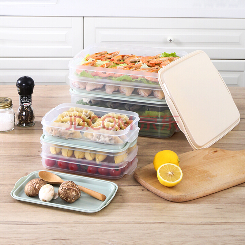 乐扣乐扣LOCK&LOCK冷冻饺子保鲜盒套装塑料冰箱鱼肉冷藏收纳3.4L*2储物盒HFL8520S2I,乐扣乐扣(LOCK&LOCK)