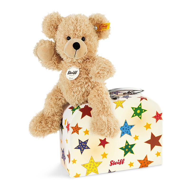 德国Steiff毛绒玩具Fynn泰迪熊手提箱款米色 23cm 4001505111730