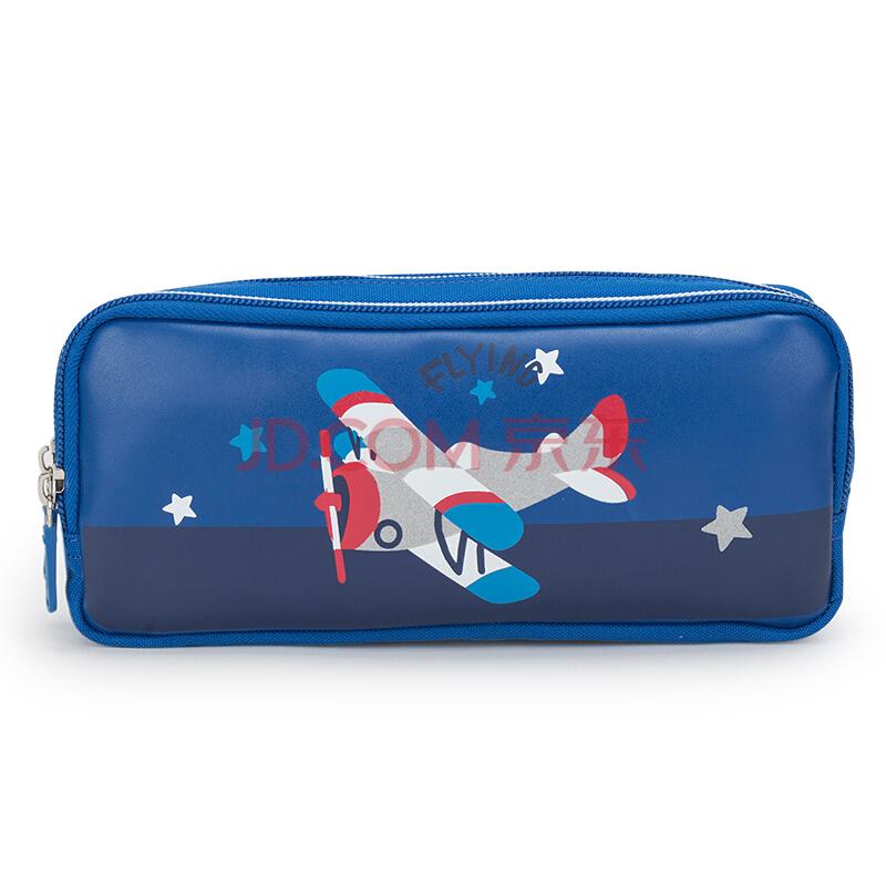 卡拉羊小学生笔袋男女生文具盒多功能印花学生笔袋儿童简约铅笔盒CX0506宝蓝,卡拉羊(Carany)