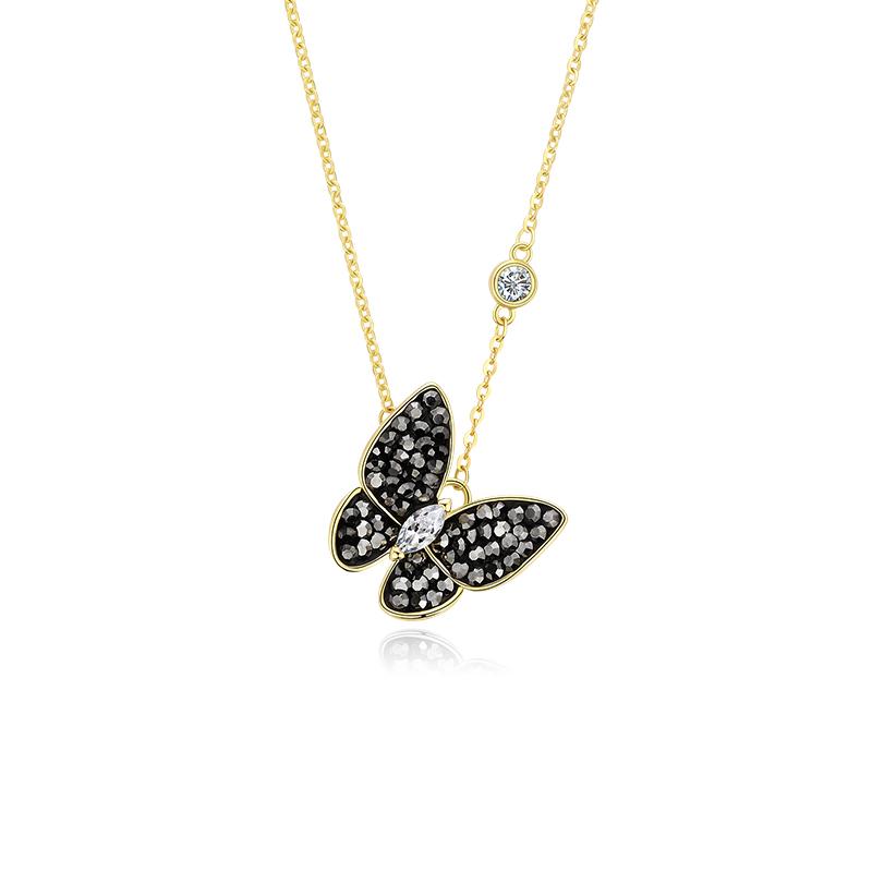 静风格项链女S925银镀14K金气质锁骨链时尚亮黑人造水晶蝴蝶颈链JA191S2006