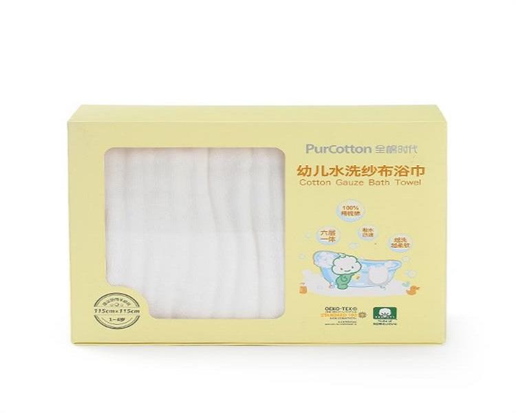 全棉时代 白色包边款水洗纱布浴巾 2100014403-000