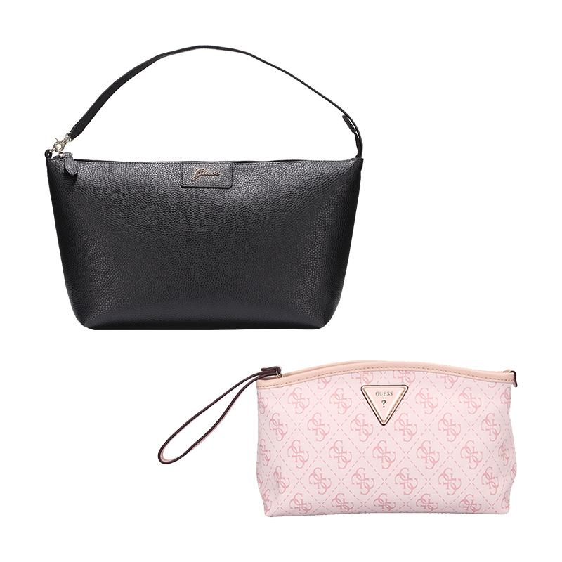 GUESS盖尔斯CHANGE变幻系紫红列化妆包搭印花系列粉色收纳包