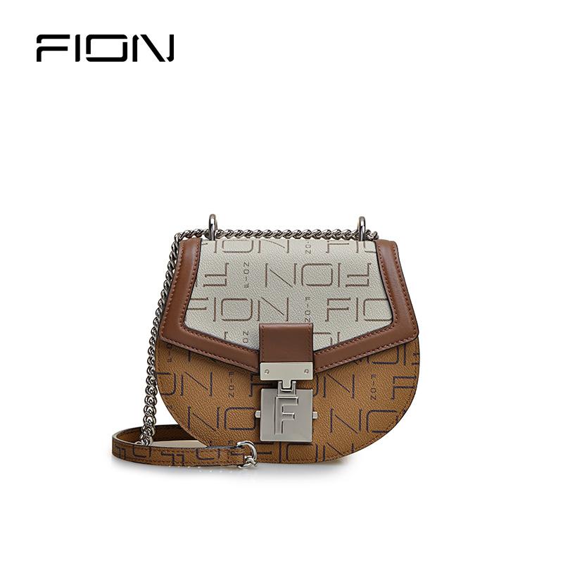 FION菲安妮20年專柜款經典印花撞色迷你鏈條馬鞍包
