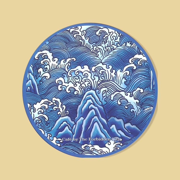 宮廷紋飾杯墊-青花海水江崖紋飾