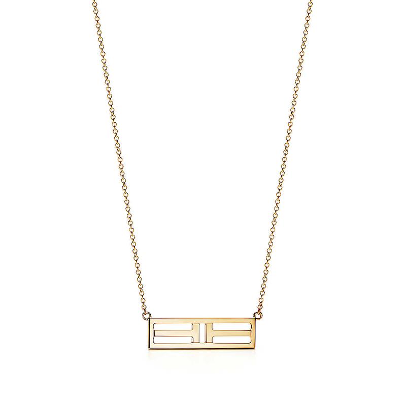 Tiffany & Co./蒂芙尼 TIFFANY T系列 18K金 双T吊坠可调节项链 40/45cm 60991243