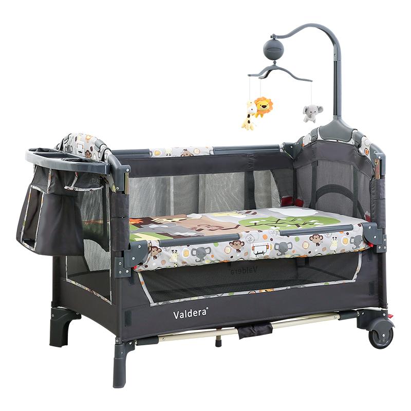 VALDERA瓦德拉多功能婴儿床可折叠宝宝床便携式游戏床儿童床bb摇篮床可拼接9093B狮子豪华款