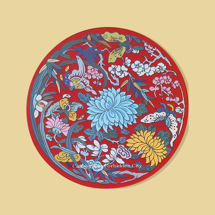 宮廷紋飾杯墊-團紋梅蘭竹菊紋飾