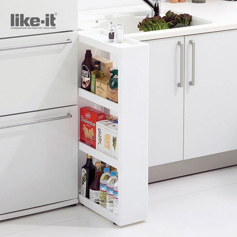 日本进口like-it冰箱架厨房4层夹缝收纳架整理柜缝隙架储物置物架