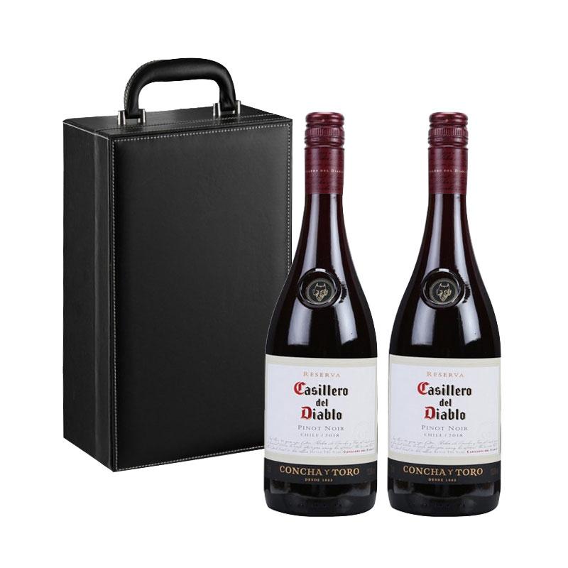 智利干露紅魔鬼黑皮諾干紅葡萄酒 原瓶進口紅酒 750ml*2瓶 禮盒裝