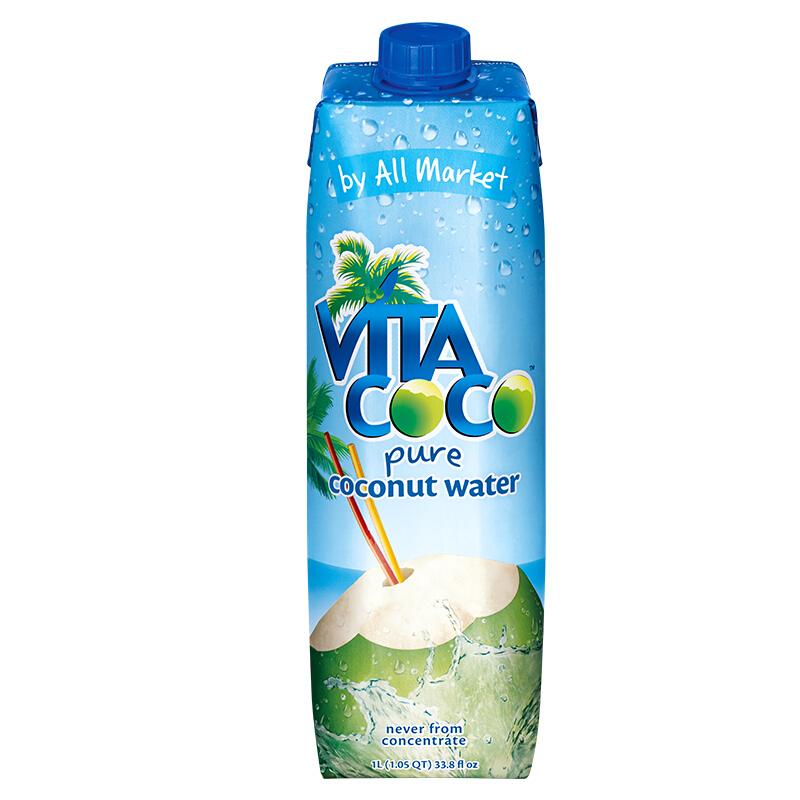 唯他可可(Vita Coco)天然椰子水进口NFC果汁饮料 1L*12瓶 整箱
