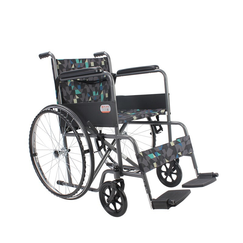 AUFU 佛山东方手动轮椅轻便可折叠老人轮椅手推车FS809F5 黄蓝白花布