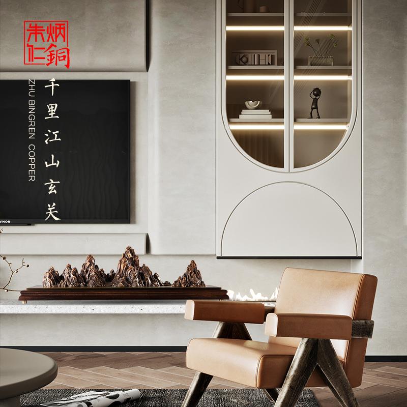 朱炳仁铜 千里江山玄关列新中式简约山水画客厅背景墙装饰