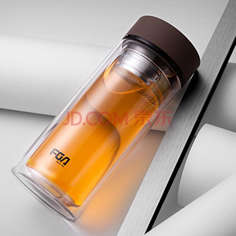 富光 格调系列双层玻璃杯 男女士时尚便携杯子泡茶杯 带茶格玻璃水杯 500ML咖啡(WFB1020-500),富光
