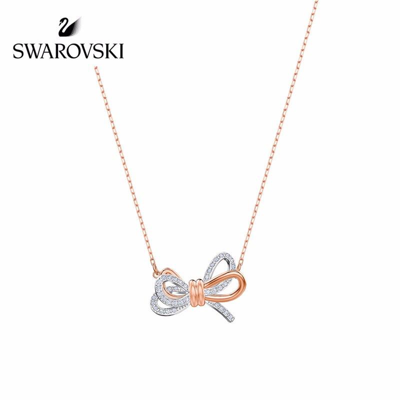 施华洛世奇 Swarovski Lifelong Bow系列 蝴蝶结项链 送女友礼物 玫瑰金双色5440636