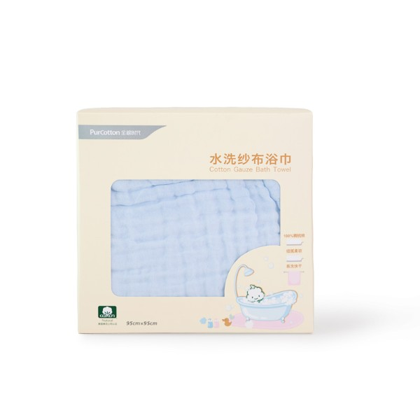 全棉時代盒裝藍色精梳棉水洗紗布浴巾800-003154