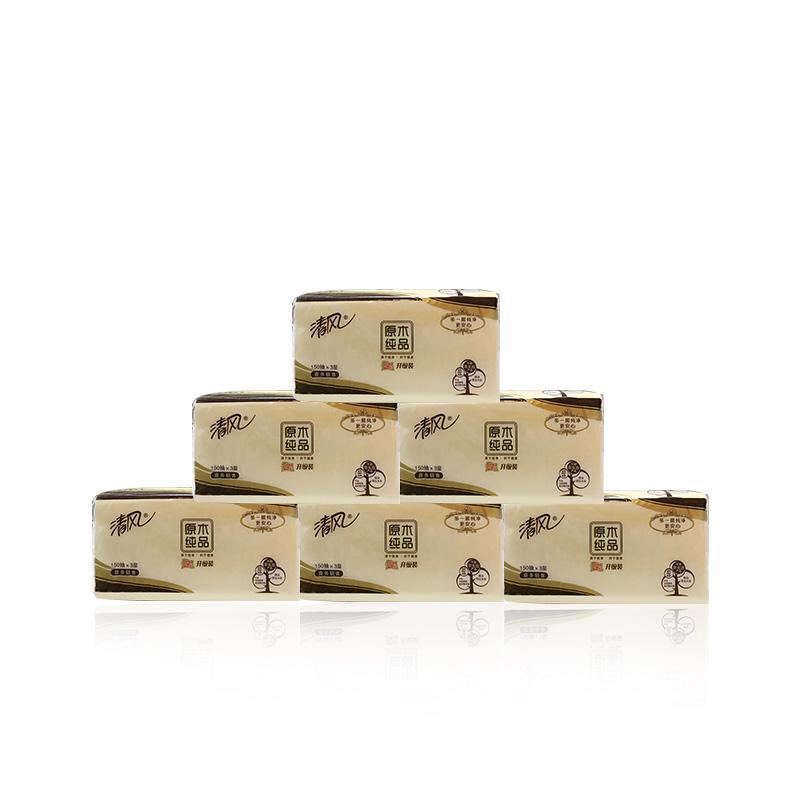 清风原木升级装3层150抽抽取式面巾纸BR65A(1箱48包)