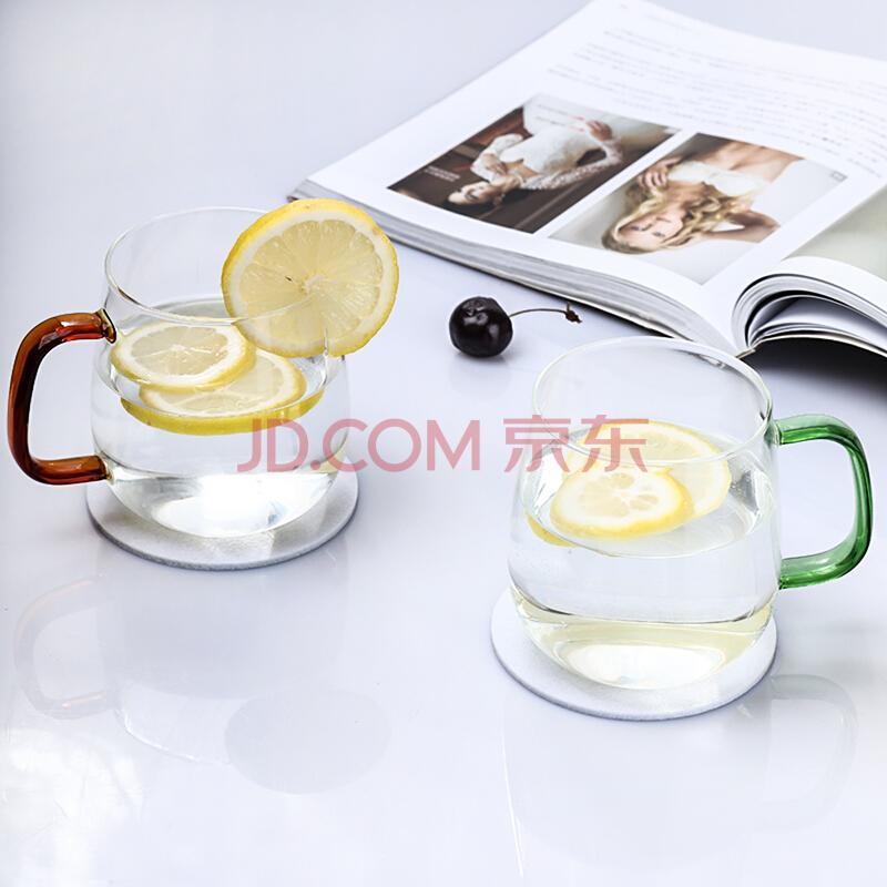 青苹果 玻璃杯双色带把花茶杯高硼硅耐热玻璃水杯果汁杯泡茶杯410ml 2只装(赠杯垫),青苹果