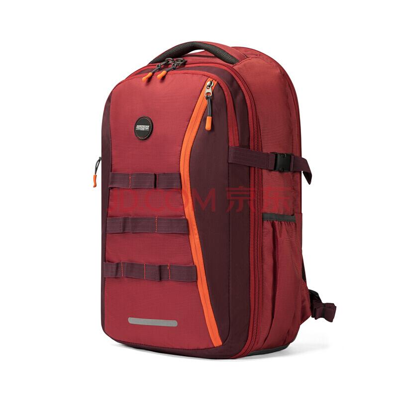 美旅背包男书包大学生双肩包大容量背包户外旅行包 82O*004红色,美旅箱包(AmericanTourister)