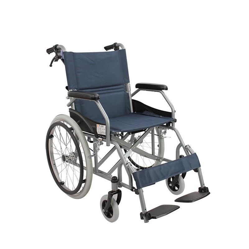 AUFU 佛山东方轮椅可折叠老人轻便便携佛山轮椅车FS863AJPF1 深蓝色