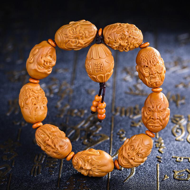 妍韵珠宝 橄榄核手串 橄榄胡雕刻油核核雕手串 十八罗汉约16x21mm