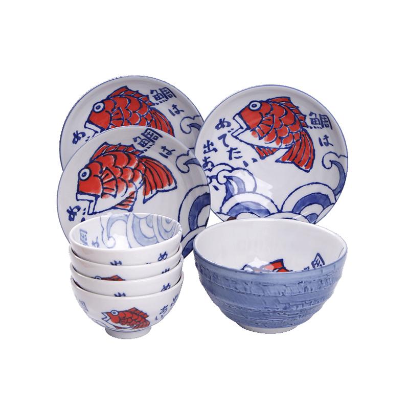 MinoYaki 美濃燒 日本進口手紙赤繪紅魚系列陶瓷碗碟盤單個、8件套餐具
