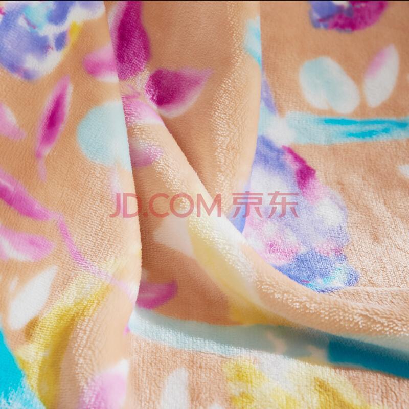 富安娜家纺 家居用品毛毯保暖毯子法兰绒毯 办公室午睡毯盖毯 花舞清影 1.5*2m橙,富安娜(FUANNA)