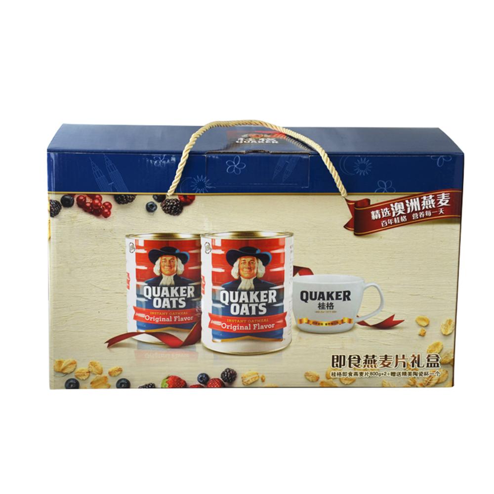 【赠陶瓷杯】马来西亚桂格即食原味燕麦片礼盒800g*2