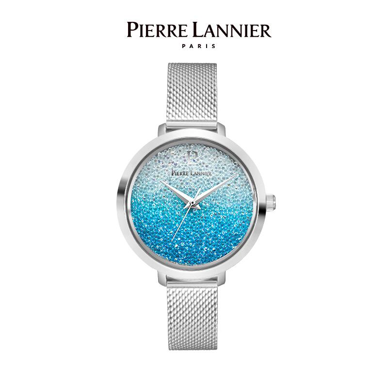 连尼亚(PIERRE LANNIER)法国进口女士满天星手表 施华洛世奇星钻系列36mm水晶表盘小众石英女表PL-101G668