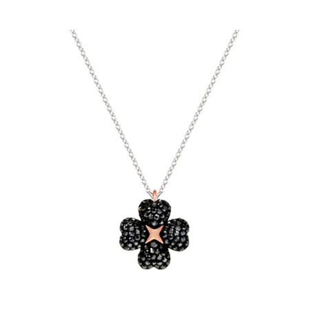 Swarovski/全球购施华洛世奇 Latisha Flower 花朵黑白双面设计短款锁骨链女项链 5368980