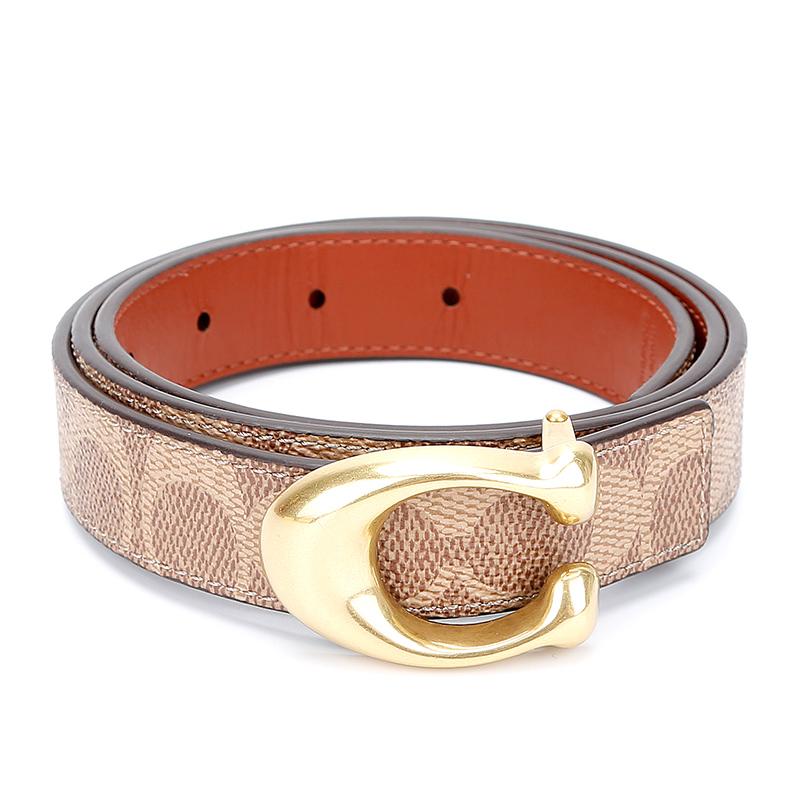 蔻驰 COACH 奢侈品 女士专柜款双面人造革配皮腰带皮带卡其色配棕色 78174 B4NQ4