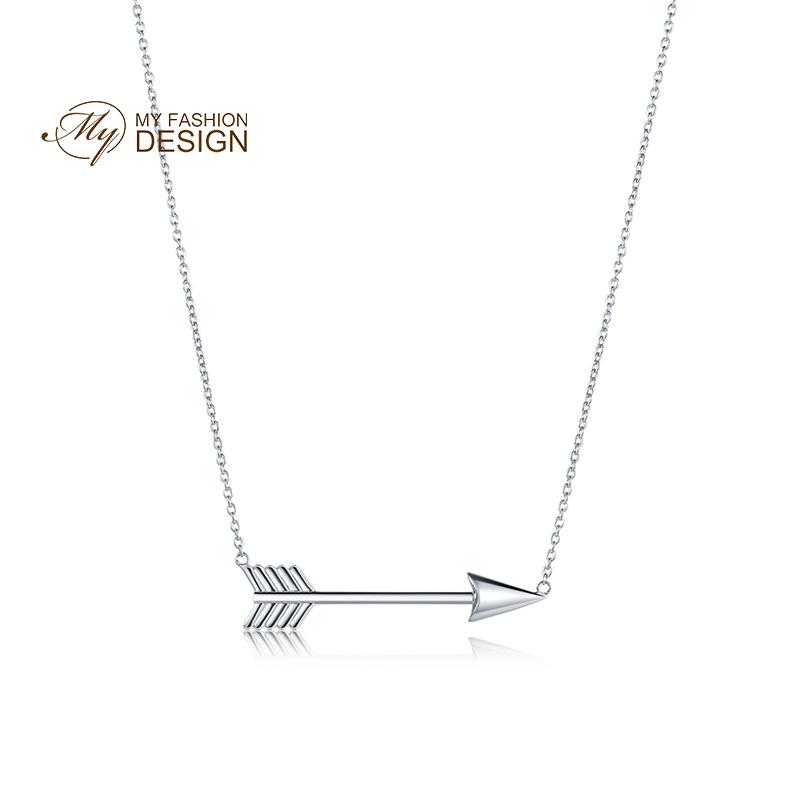 【美国】MY FASHION DESIGN S925银项链女款银色丘比特之箭纯银锁骨链项链MYN1725