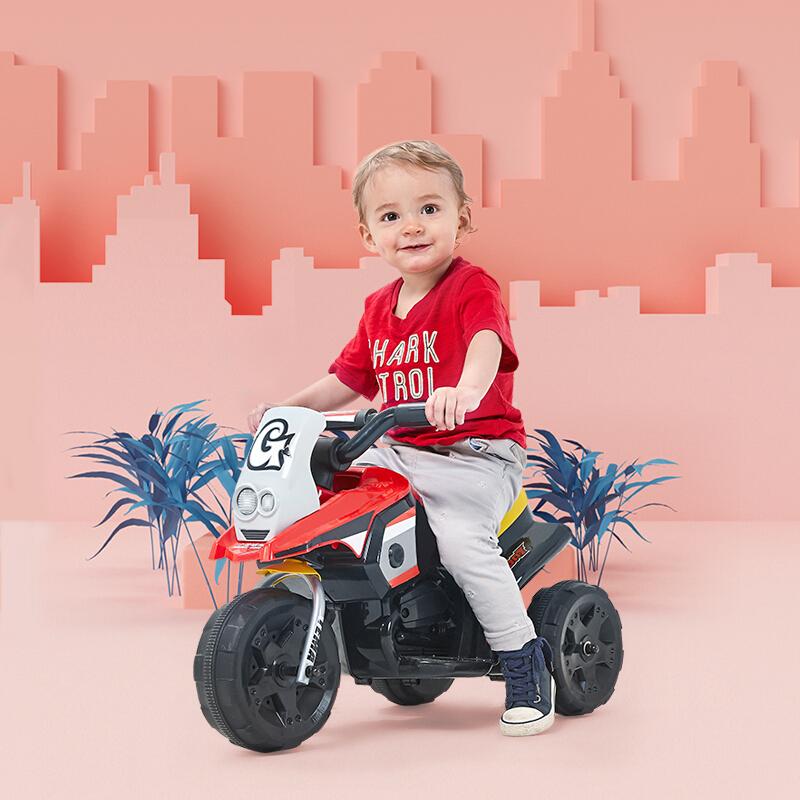 hd小龙哈彼 儿童电动车摩托车三轮车 可坐人充电小孩玩具童车 红色LW336-D-L139