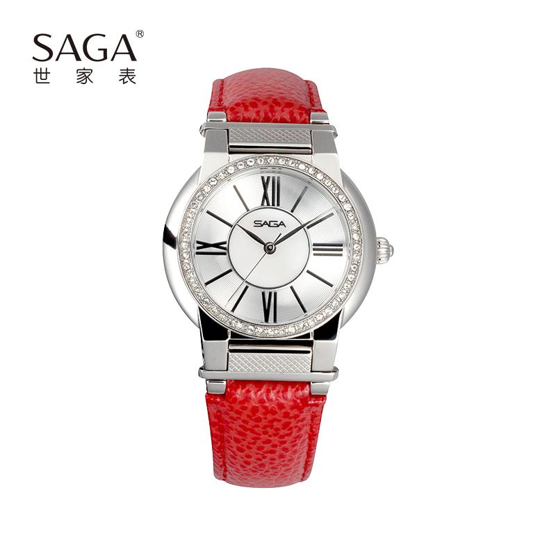 SAGA世家表 女士手表 施华洛世奇元素 一表三戴简约时尚轻奢防水腕表 牛皮表带石英机芯贝母表面 送女友礼物