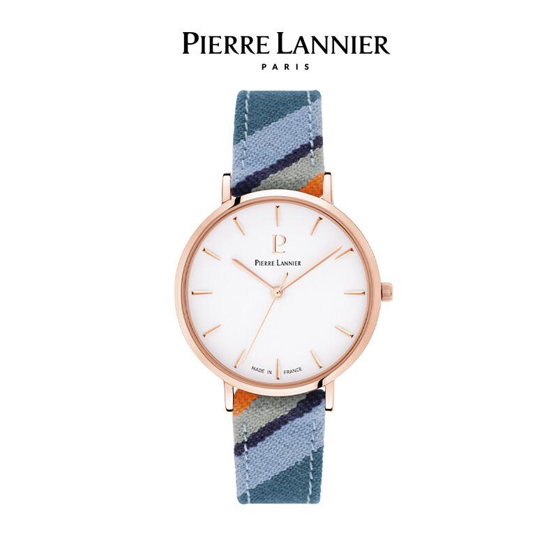 连尼亚(PIERRE LANNIER)法国PL女士手表 Catalane彩虹时光系列36mm编织彩色布表带石英女表深海蓝191F926