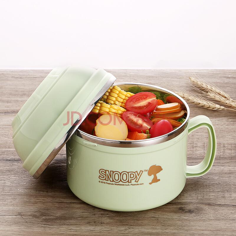 史努比(SNOOPY)饭盒304不锈钢碗便当盒加厚隔热汤碗饭碗泡面碗大容量学生食堂打饭盒1200ML KF-8003L绿色,史努比(SNOOPY)