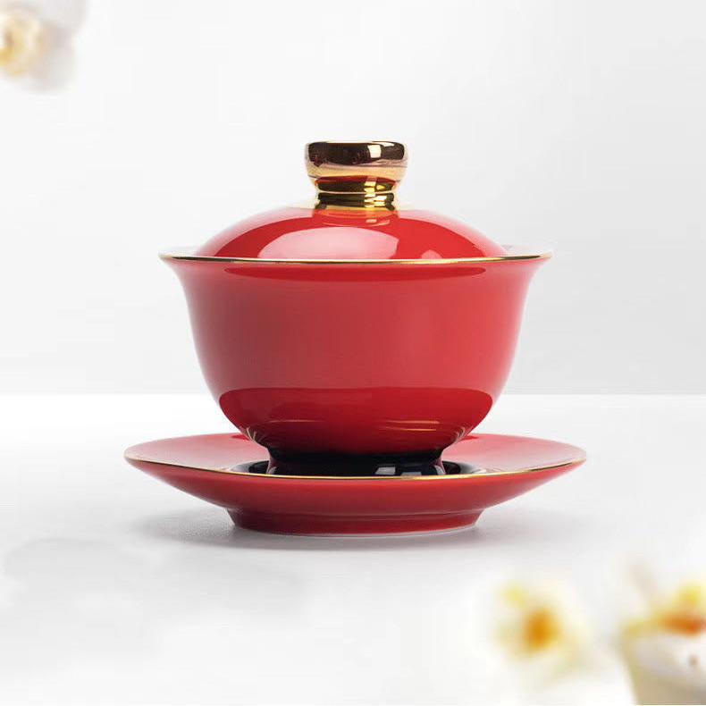 吾游 中国红盖碗 淡雅高洁 两款经典款式