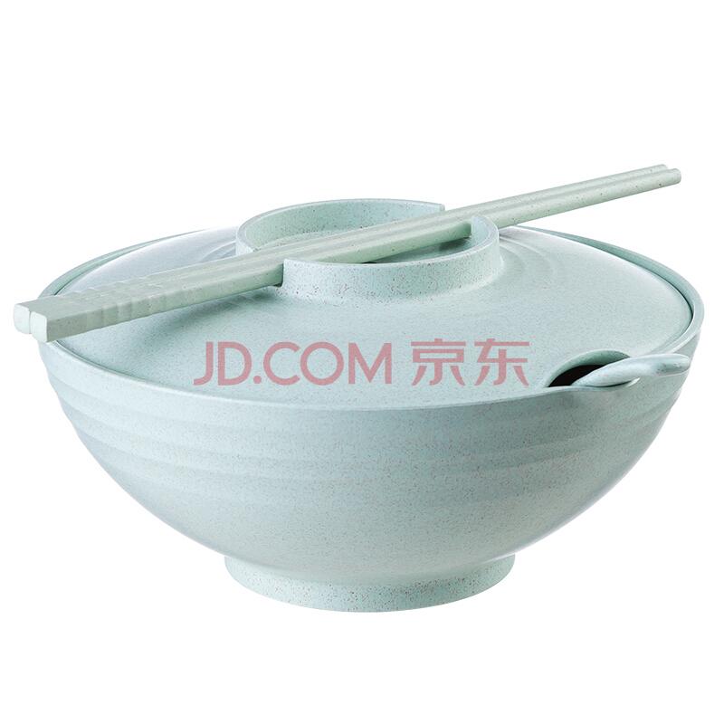 爱思得(Arsto)稻壳泡面碗带盖大号多功能餐具套装带筷勺微波炉可用5197绿色,爱思得