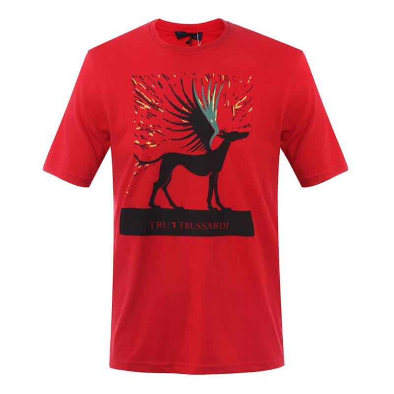 Trussardi/楚萨迪 红色圆领男士短袖T恤 32T00163 1T004448 R150