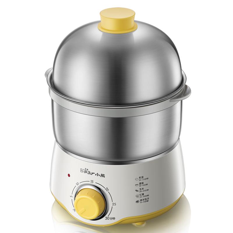 小熊(Bear)煮蛋器 雙層迷你定時不銹鋼蒸蛋器煮蛋機蒸蛋機早餐機自動斷電 ZDQ-A07U1